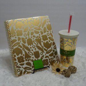 Kate Spade GOLDEN FLORAL Notebook &Tumbler Bundle